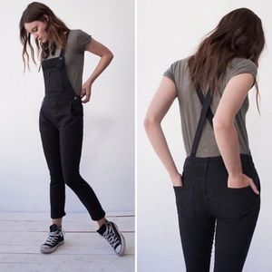 Free People Stark Black Denim Overall Skinny Jeans